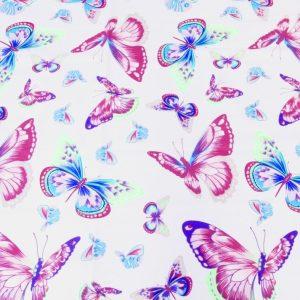 tkanina-bawełniana-motyle-róż