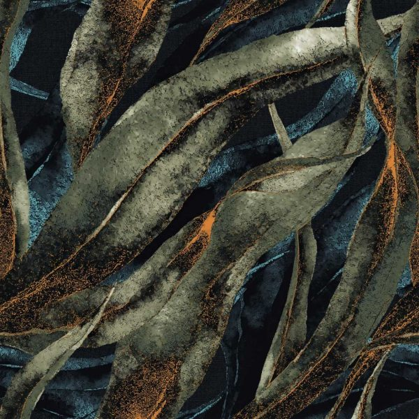 tkanina-liście-velluto-szmaragd